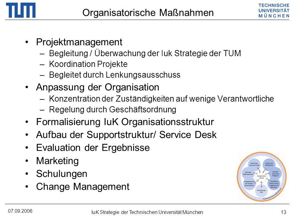 07.09.2006 IuK Strategie der Technischen Universität München13 Projektmanagement –Begleitung / Überwachung der Iuk Strategie der TUM –Koordination Pro