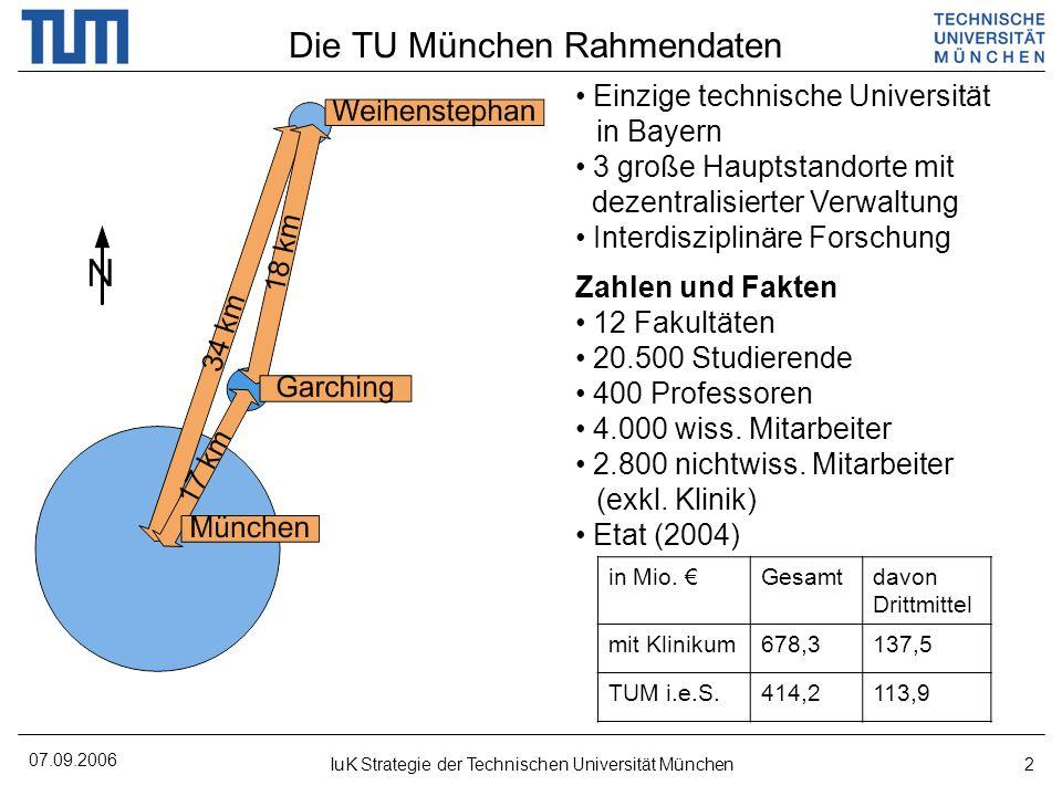 07.09.2006 IuK Strategie der Technischen Universität München2 Die TU München Rahmendaten Einzige technische Universität in Bayern 3 große Hauptstandor
