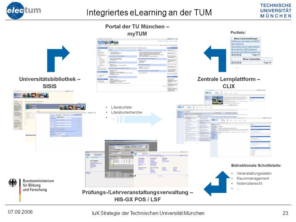 07.09.2006 IuK Strategie der Technischen Universität München23 Integriertes eLearning an der TUM