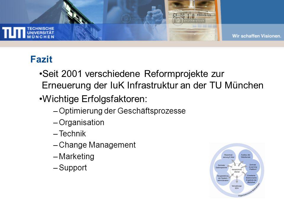 Fazit Seit 2001 verschiedene Reformprojekte zur Erneuerung der IuK Infrastruktur an der TU München Wichtige Erfolgsfaktoren: –Optimierung der Geschäftsprozesse –Organisation –Technik –Change Management –Marketing –Support