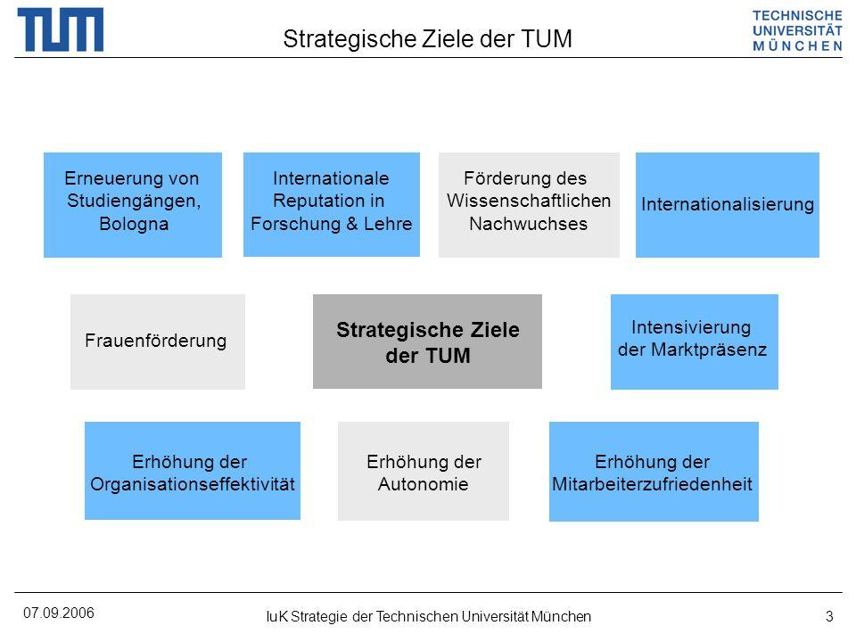 07.09.2006 IuK Strategie der Technischen Universität München3 Strategische Ziele der TUM Strategische Ziele der TUM Erneuerung von Studiengängen, Bolo
