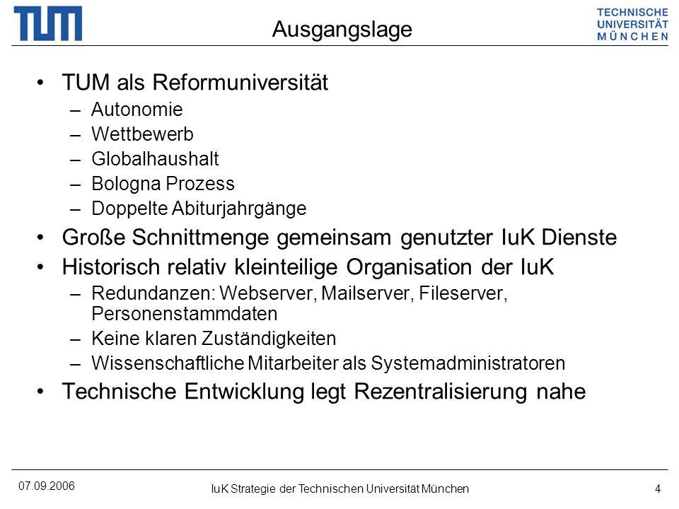 07.09.2006 IuK Strategie der Technischen Universität München4 Ausgangslage TUM als Reformuniversität –Autonomie –Wettbewerb –Globalhaushalt –Bologna P