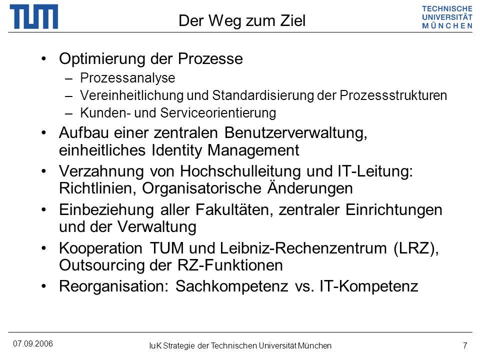 07.09.2006 IuK Strategie der Technischen Universität München18 Projekt HIS@TUM Uneinheitliche Strukturen und Zuständigkeiten Unkontrolliert und unkoordiniert ablaufende Teilprozesse Medienbrüche an den (größtenteils manuellen) Prozessschnittstellen Datenredundanz und Dateninkonsistenz......