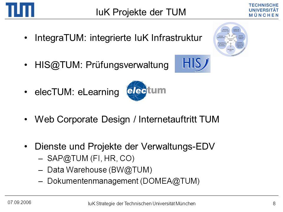 07.09.2006 IuK Strategie der Technischen Universität München8 IuK Projekte der TUM IntegraTUM: integrierte IuK Infrastruktur HIS@TUM: Prüfungsverwaltung elecTUM: eLearning Web Corporate Design / Internetauftritt TUM Dienste und Projekte der Verwaltungs-EDV –SAP@TUM (FI, HR, CO) –Data Warehouse (BW@TUM) –Dokumentenmanagement (DOMEA@TUM)
