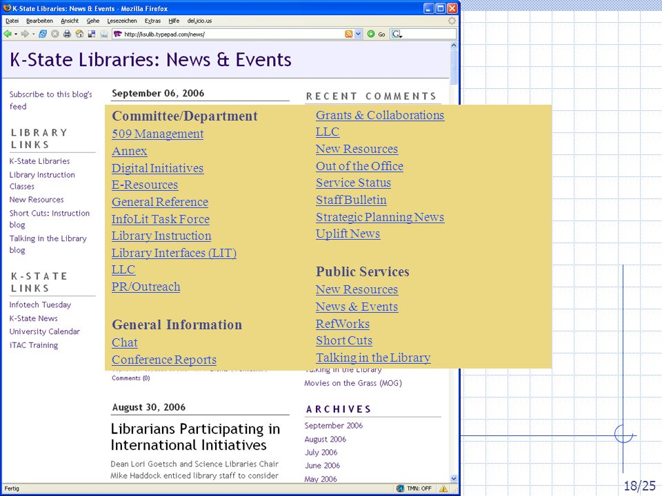 Inetbib-Tagung 2006, Münster 8.9.2006 18/25 Committee/Department 509 Management Annex Digital Initiatives E-Resources General Reference InfoLit Task Force Library Instruction Library Interfaces (LIT) LLC PR/Outreach General Information Chat Conference Reports Grants & Collaborations LLC New Resources Out of the Office Service Status Staff Bulletin Strategic Planning News Uplift News Public Services New Resources News & Events RefWorks Short Cuts Talking in the Library
