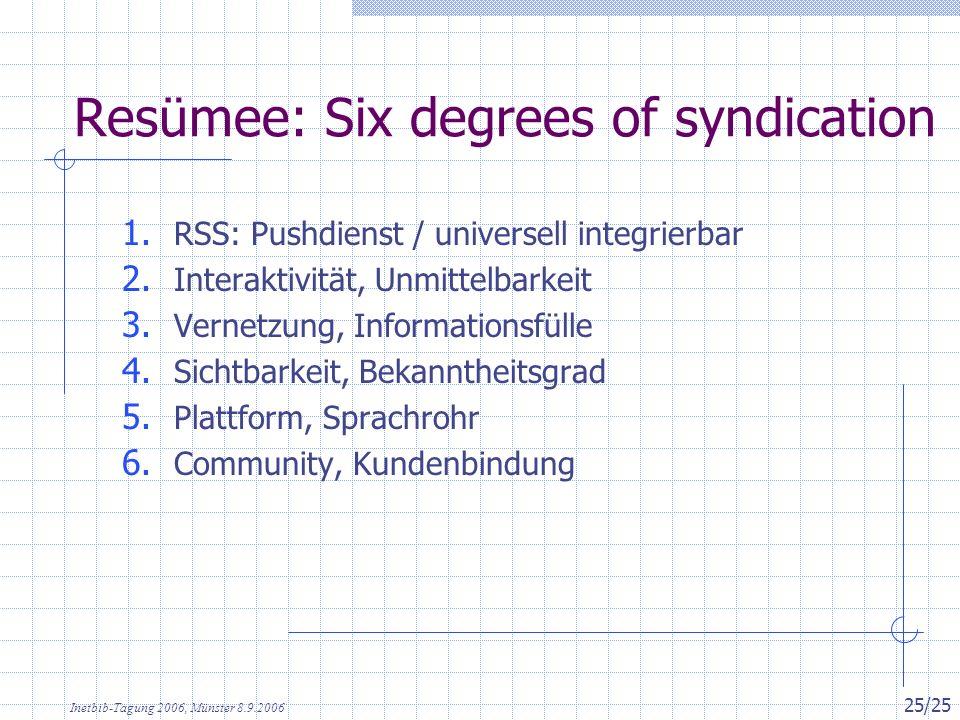Inetbib-Tagung 2006, Münster 8.9.2006 25/25 Resümee: Six degrees of syndication 1. RSS: Pushdienst / universell integrierbar 2. Interaktivität, Unmitt