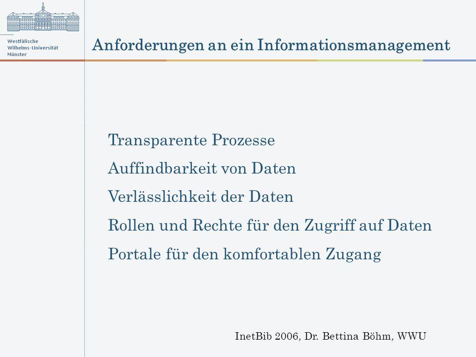 Anforderungen an ein Informationsmanagement InetBib 2006, Dr. Bettina Böhm, WWU Transparente Prozesse Auffindbarkeit von Daten Verlässlichkeit der Dat