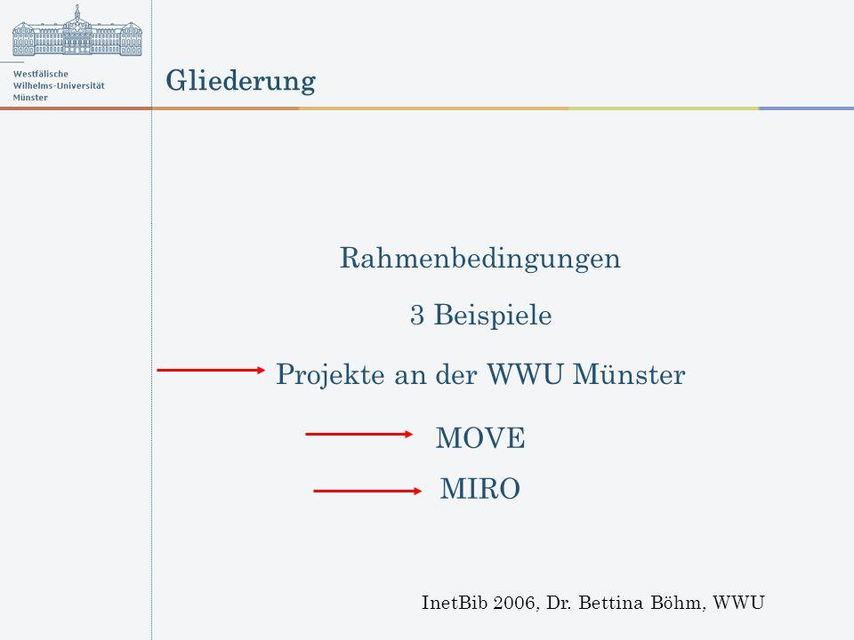 Gliederung InetBib 2006, Dr. Bettina Böhm, WWU Rahmenbedingungen 3 Beispiele Projekte an der WWU Münster MOVE MIRO