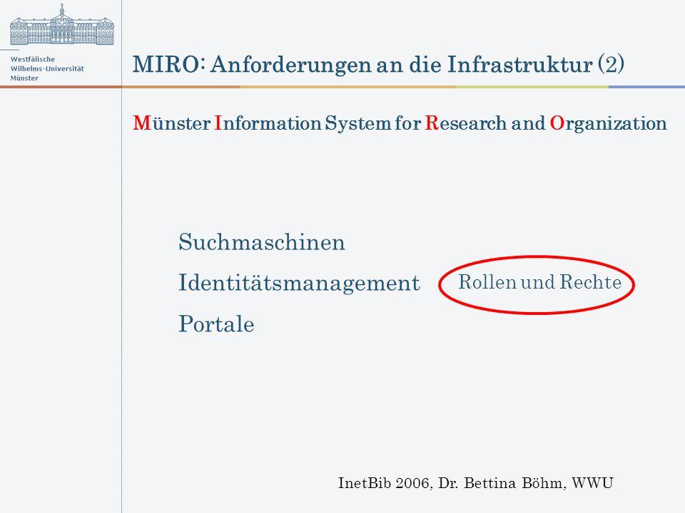 MIRO: Anforderungen an die Infrastruktur (2) InetBib 2006, Dr. Bettina Böhm, WWU Suchmaschinen Identitätsmanagement Portale Rollen und Rechte Münster