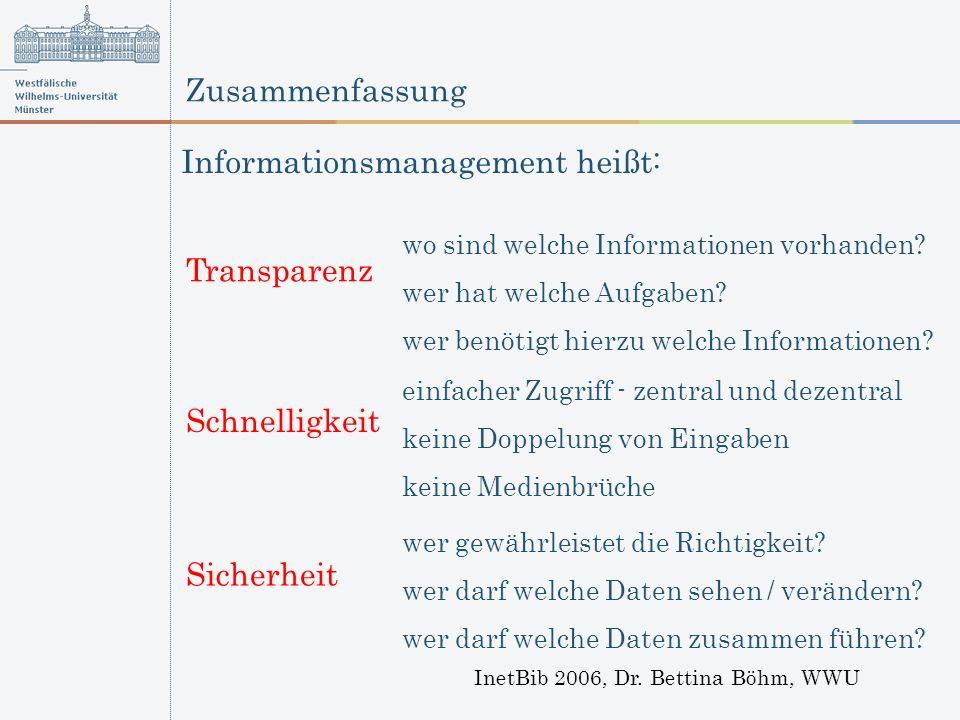 Zusammenfassung InetBib 2006, Dr. Bettina Böhm, WWU wo sind welche Informationen vorhanden? wer hat welche Aufgaben? wer benötigt hierzu welche Inform