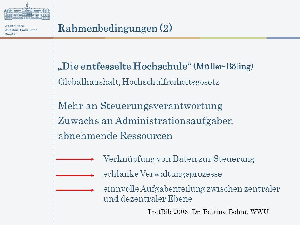 Rahmenbedingungen (2) InetBib 2006, Dr. Bettina Böhm, WWU Mehr an Steuerungsverantwortung Verknüpfung von Daten zur Steuerung schlanke Verwaltungsproz