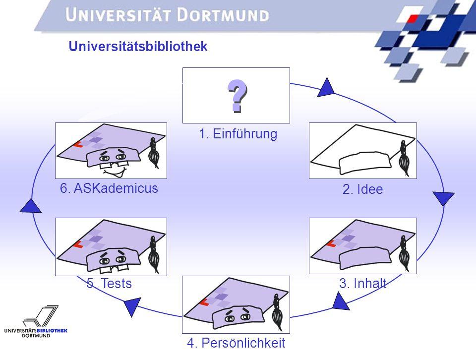 UNIVERSITÄTSBIBLIOTHEK Universitätsbibliothek 1. Einführung 2. Idee 3. Inhalt 4. Persönlichkeit 5. Tests 6. ASKademicus