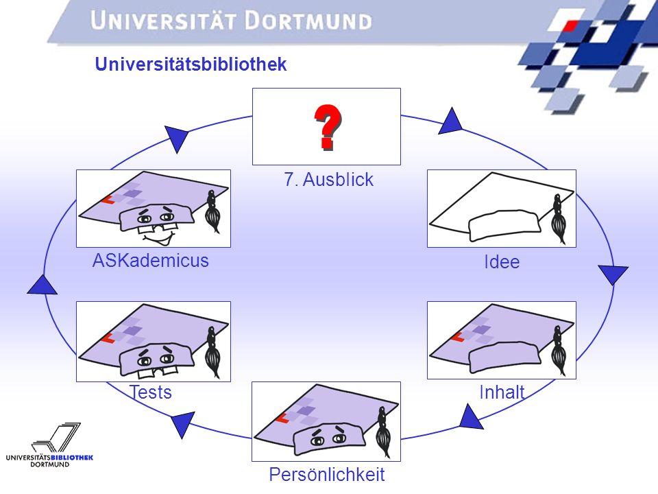 UNIVERSITÄTSBIBLIOTHEK Universitätsbibliothek Idee Inhalt Persönlichkeit Tests ASKademicus 7. AusbIick