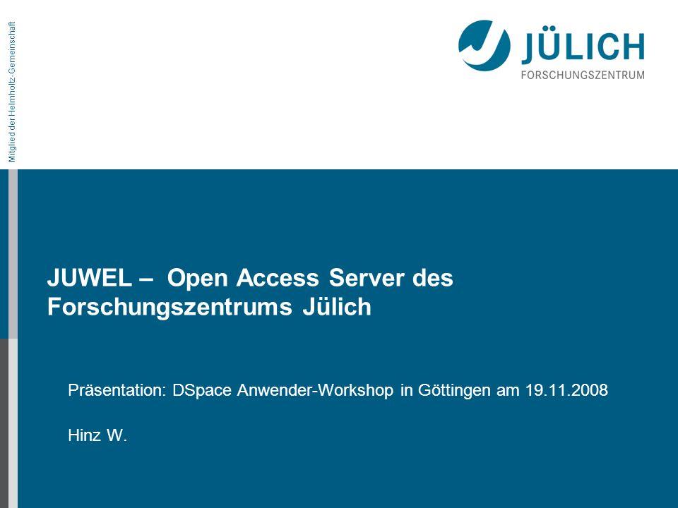 Vernetzung von JUWEL mit internen / externen Quellen Intern: VDB über den s.