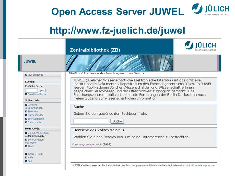 JUWEL Ausblick Update von DSpace Version 1.4.2 auf 1.5 DINI-Zertifikat 2007 für Dokumenten- und Publikationsservices Aufnahme in die Infrastruktur von DRIVER (Digital Repositories Infrastructure Vision for European Research)