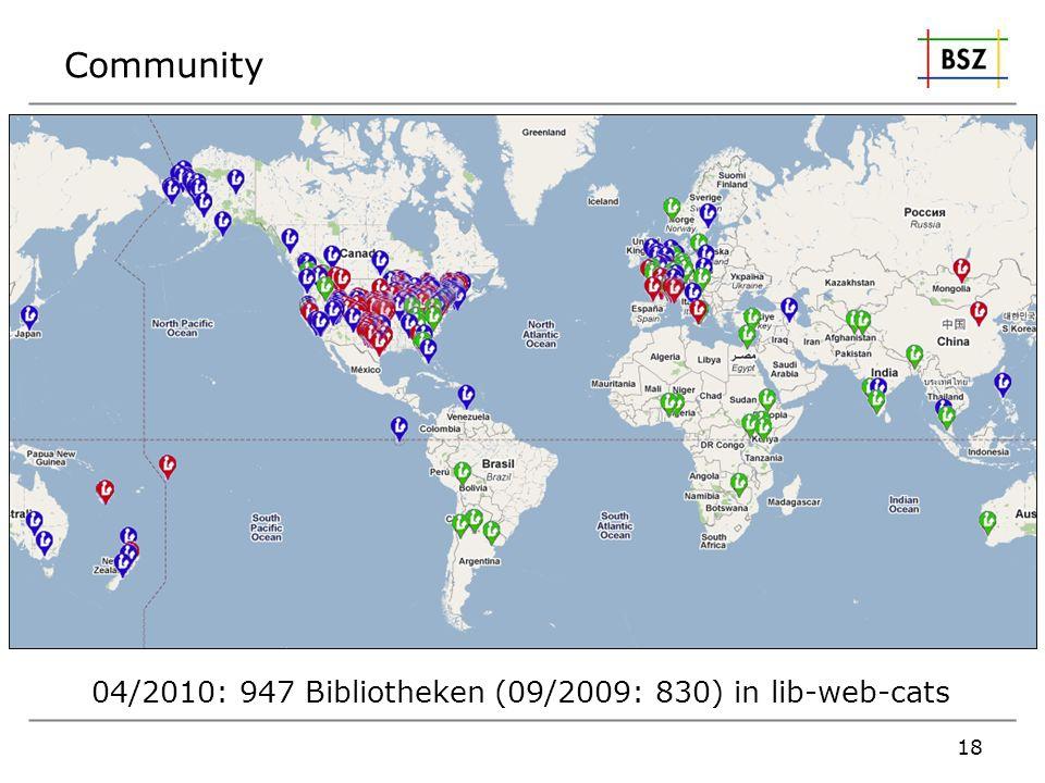 Community 18 04/2010: 947 Bibliotheken (09/2009: 830) in lib-web-cats