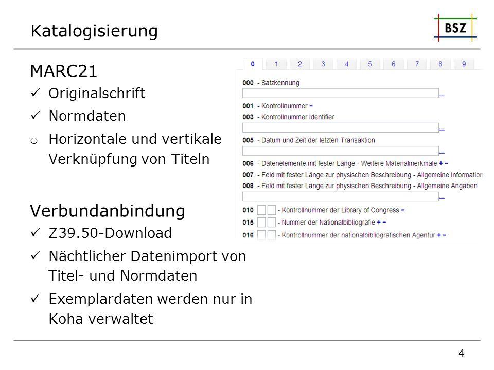 Katalogisierung MARC21 Originalschrift Normdaten o Horizontale und vertikale Verknüpfung von Titeln Verbundanbindung Z39.50-Download Nächtlicher Daten