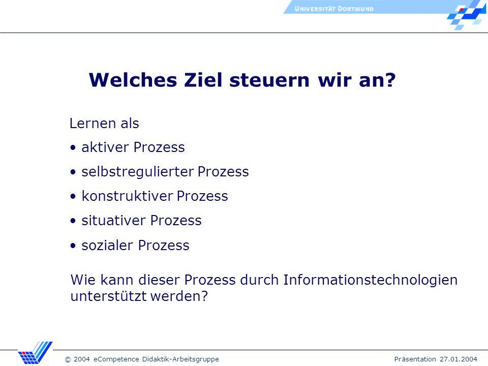 © 2004 eCompetence Didaktik-Arbeitsgruppe Präsentation 27.01.2004 Didaktische Modelle & Methoden Problemorientiertes Lernen Projektlernen Lernen mit Simulationen Kommunikation mit Externen Genderperspektiven integrieren