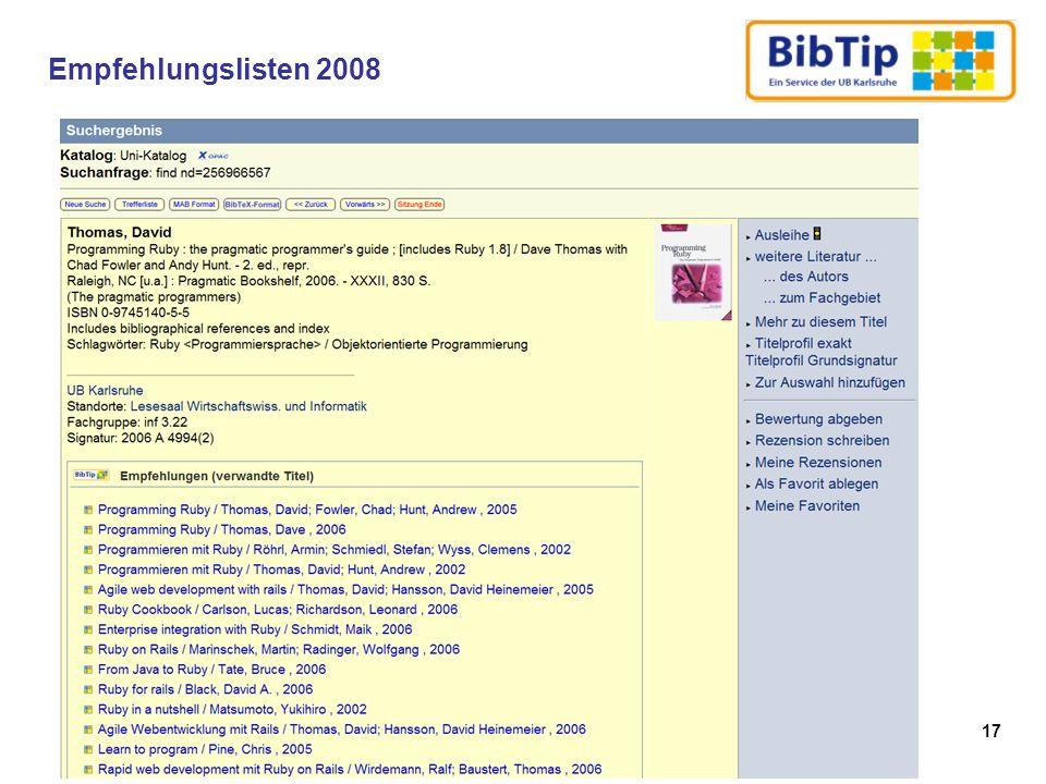 17 Empfehlungslisten 2008