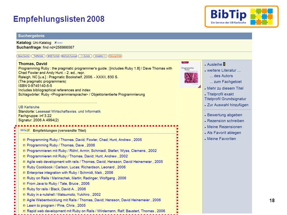 18 Empfehlungslisten 2008