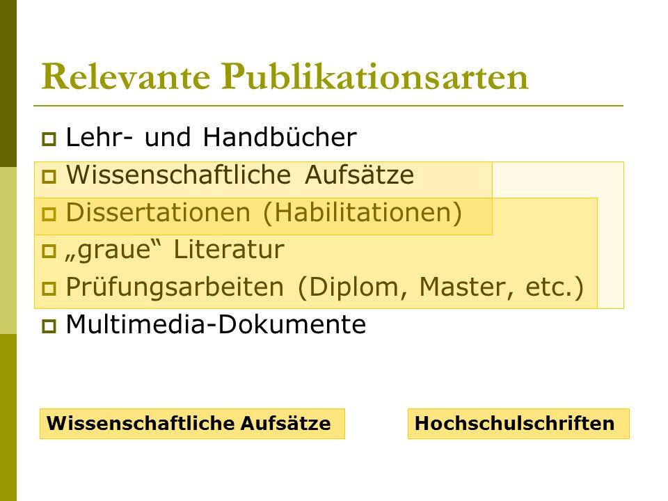 Relevante Publikationsarten Lehr- und Handbücher Wissenschaftliche Aufsätze Dissertationen (Habilitationen) graue Literatur Prüfungsarbeiten (Diplom, Master, etc.) Multimedia-Dokumente Wissenschaftliche AufsätzeHochschulschriften