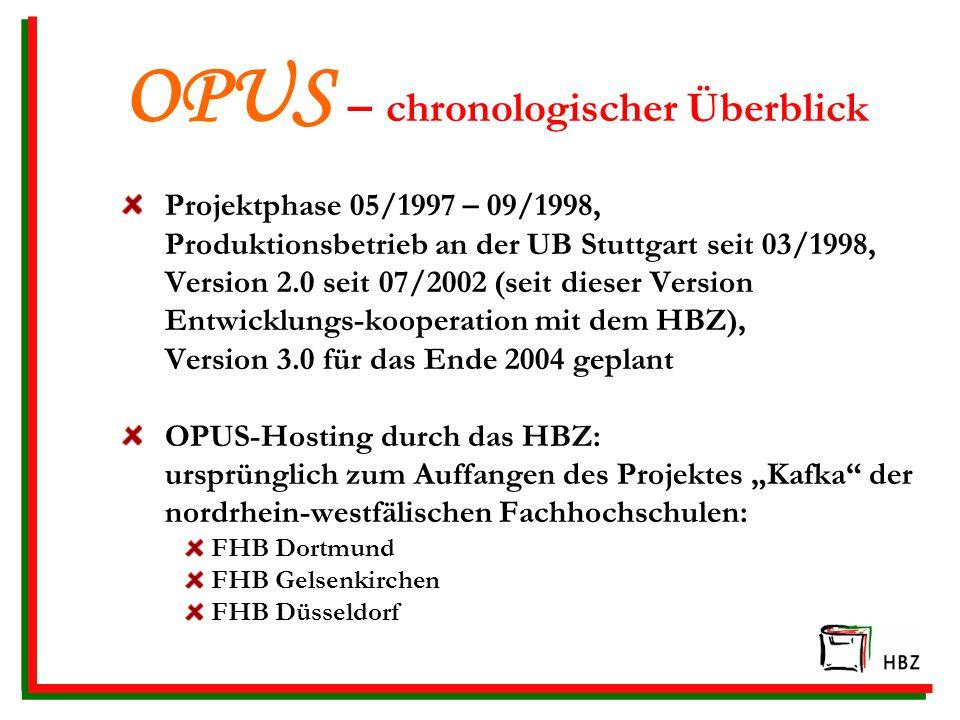 OPUS – chronologischer Überblick Projektphase 05/1997 – 09/1998, Produktionsbetrieb an der UB Stuttgart seit 03/1998, Version 2.0 seit 07/2002 (seit dieser Version Entwicklungs-kooperation mit dem HBZ), Version 3.0 für das Ende 2004 geplant OPUS-Hosting durch das HBZ: ursprünglich zum Auffangen des Projektes Kafka der nordrhein-westfälischen Fachhochschulen: FHB Dortmund FHB Gelsenkirchen FHB Düsseldorf