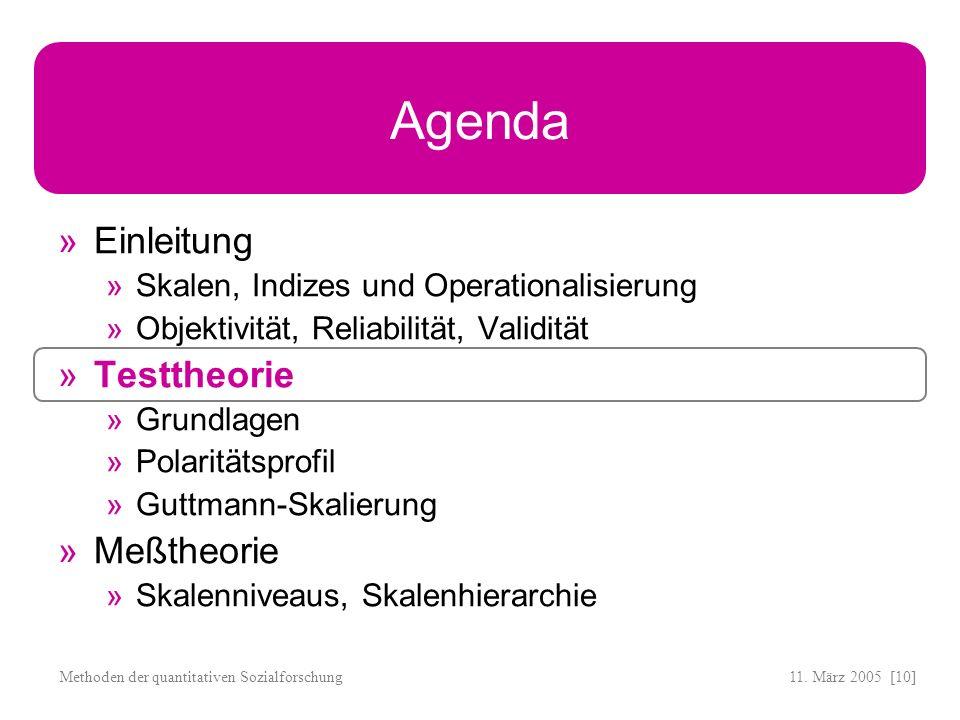 11. März 2005 [10]Methoden der quantitativen Sozialforschung Agenda Einleitung Skalen, Indizes und Operationalisierung Objektivität, Reliabilität, Val