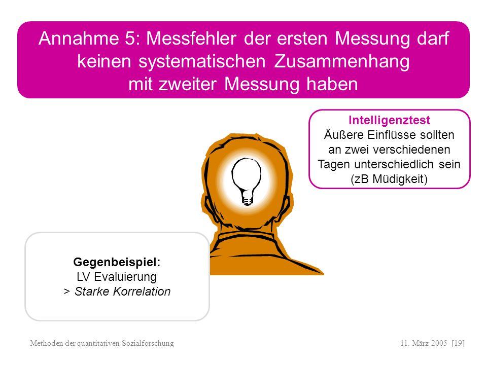 11. März 2005 [19]Methoden der quantitativen Sozialforschung Annahme 5: Messfehler der ersten Messung darf keinen systematischen Zusammenhang mit zwei
