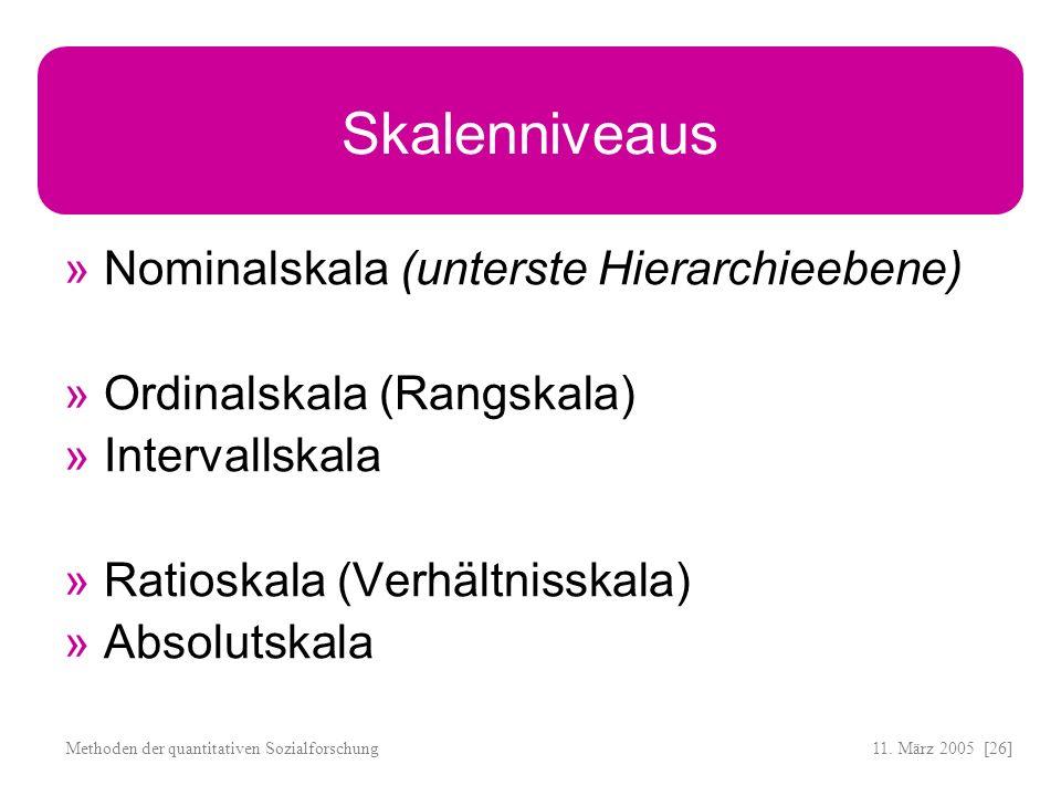 11. März 2005 [26]Methoden der quantitativen Sozialforschung Skalenniveaus Nominalskala (unterste Hierarchieebene) Ordinalskala (Rangskala) Intervalls