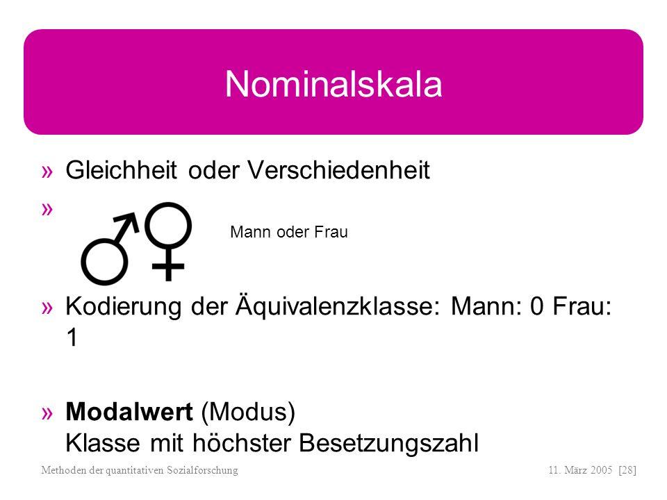 11. März 2005 [28]Methoden der quantitativen Sozialforschung Nominalskala Gleichheit oder Verschiedenheit Kodierung der Äquivalenzklasse: Mann: 0 Frau