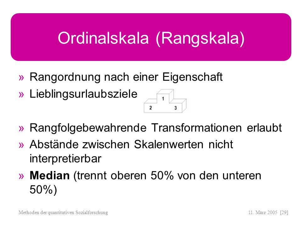 11. März 2005 [29]Methoden der quantitativen Sozialforschung Ordinalskala (Rangskala) Rangordnung nach einer Eigenschaft Lieblingsurlaubsziele Rangfol