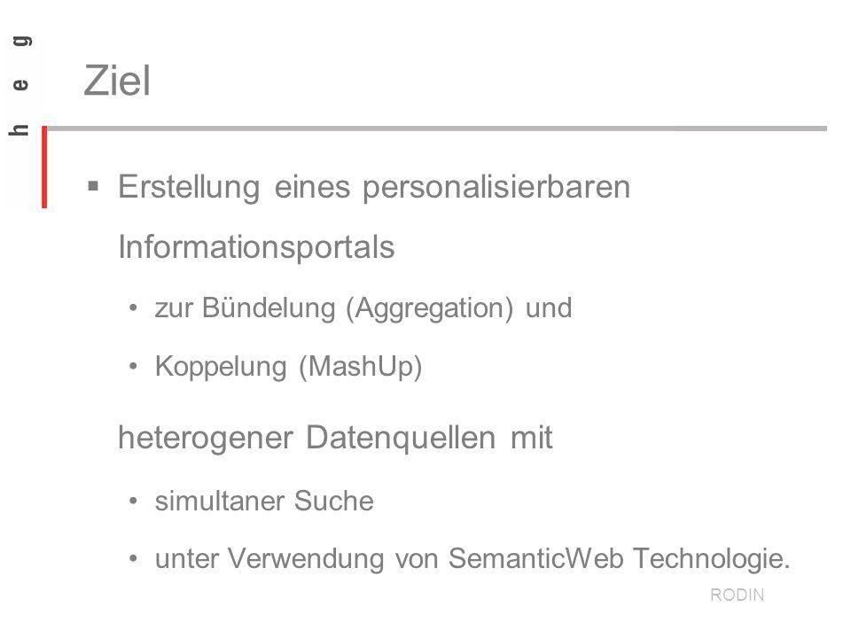 Ziel Erstellung eines personalisierbaren Informationsportals zur Bündelung (Aggregation) und Koppelung (MashUp) heterogener Datenquellen mit simultaner Suche unter Verwendung von SemanticWeb Technologie.