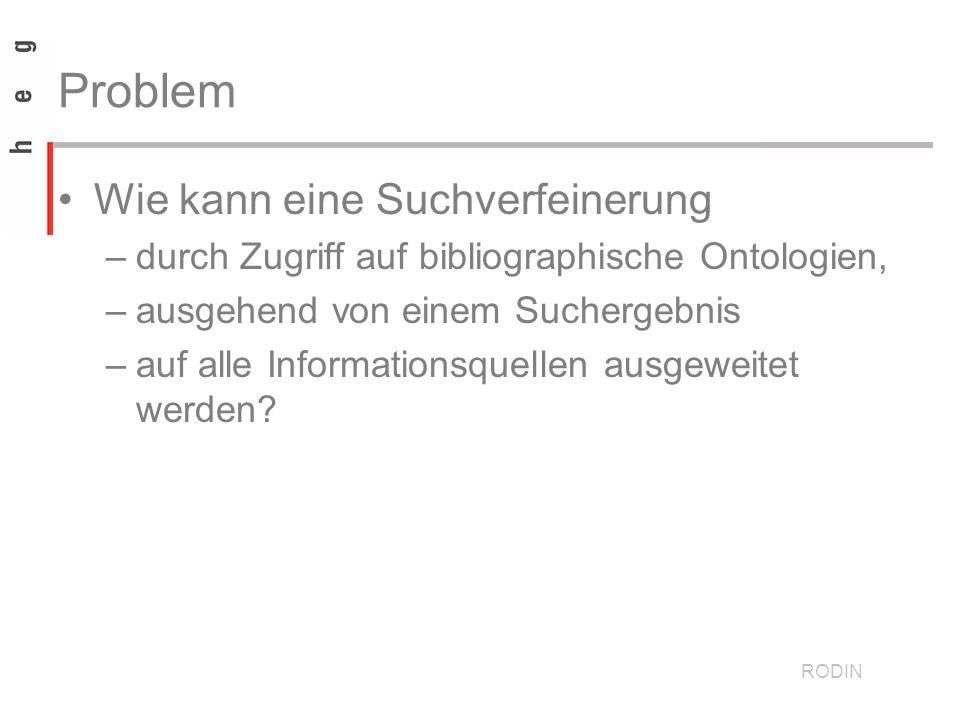 Problem Wie kann eine Suchverfeinerung –durch Zugriff auf bibliographische Ontologien, –ausgehend von einem Suchergebnis –auf alle Informationsquellen ausgeweitet werden.