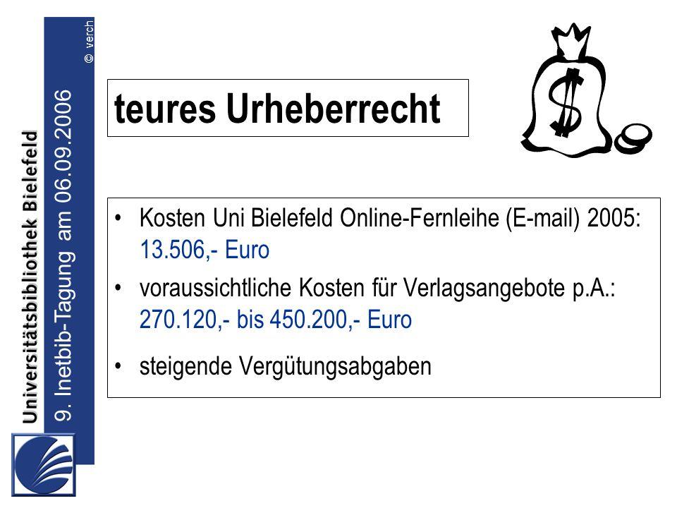 9. Inetbib-Tagung am 06.09.2006 © verch teures Urheberrecht Kosten Uni Bielefeld Online-Fernleihe (E-mail) 2005: 13.506,- Euro voraussichtliche Kosten