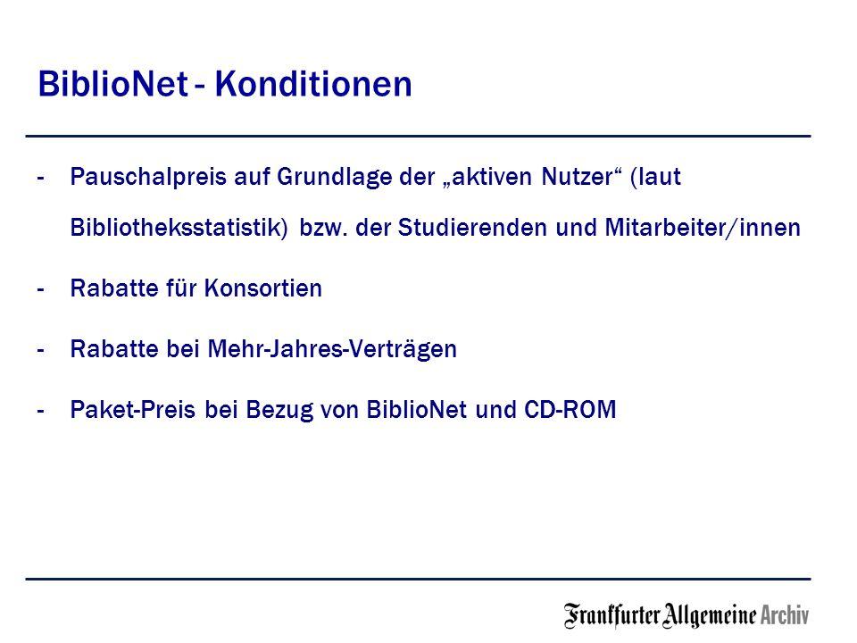 BiblioNet - Konditionen -Pauschalpreis auf Grundlage der aktiven Nutzer (laut Bibliotheksstatistik) bzw. der Studierenden und Mitarbeiter/innen -Rabat