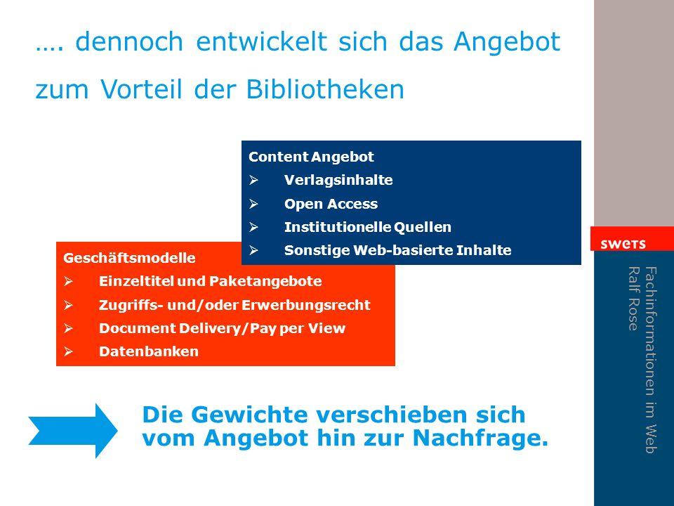Fachinformationen im Web Ralf Rose Geschäftsmodelle Einzeltitel und Paketangebote Zugriffs- und/oder Erwerbungsrecht Document Delivery/Pay per View Da
