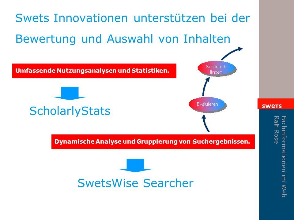 Fachinformationen im Web Ralf Rose Swets Innovationen unterstützen bei der Bewertung und Auswahl von Inhalten Umfassende Nutzungsanalysen und Statistiken.
