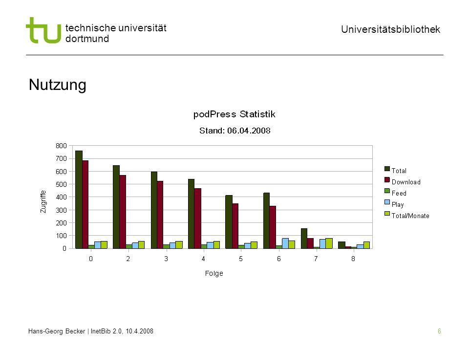 Hans-Georg Becker | InetBib 2.0, 10.4.2008 Universitätsbibliothek technische universität dortmund 6 Nutzung