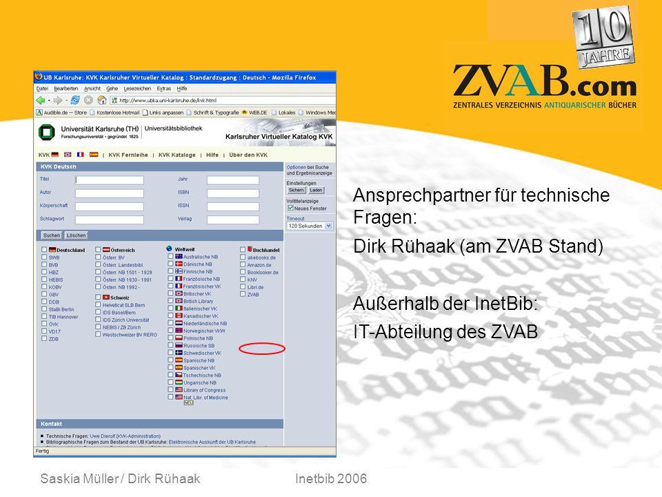 Saskia Müller / Dirk RühaakInetbib 2006 Ansprechpartner für technische Fragen: Dirk Rühaak (am ZVAB Stand) Außerhalb der InetBib: IT-Abteilung des ZVAB