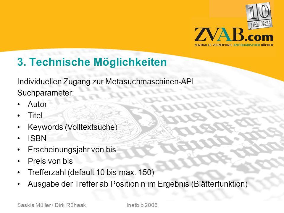 Saskia Müller / Dirk RühaakInetbib 2006 Individuellen Zugang zur Metasuchmaschinen-API Suchparameter: Autor Titel Keywords (Volltextsuche) ISBN Erscheinungsjahr von bis Preis von bis Trefferzahl (default 10 bis max.