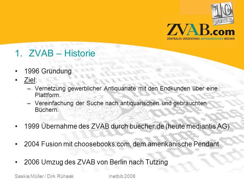 Saskia Müller / Dirk RühaakInetbib 2006 1.ZVAB – Historie 1996 Gründung Ziel: –Vernetzung gewerblicher Antiquariate mit den Endkunden über eine Plattform.