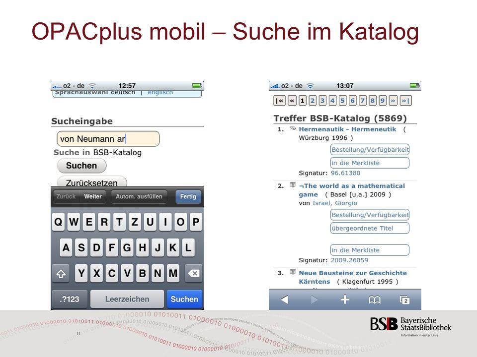 11 OPACplus mobil – Suche im Katalog 11