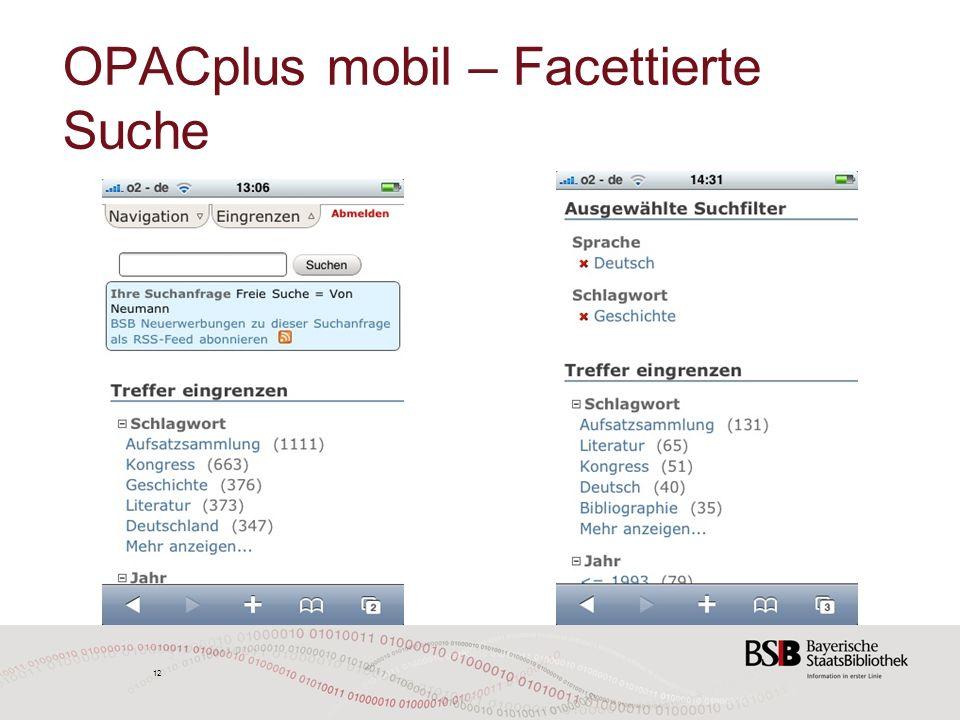 12 OPACplus mobil – Facettierte Suche 12