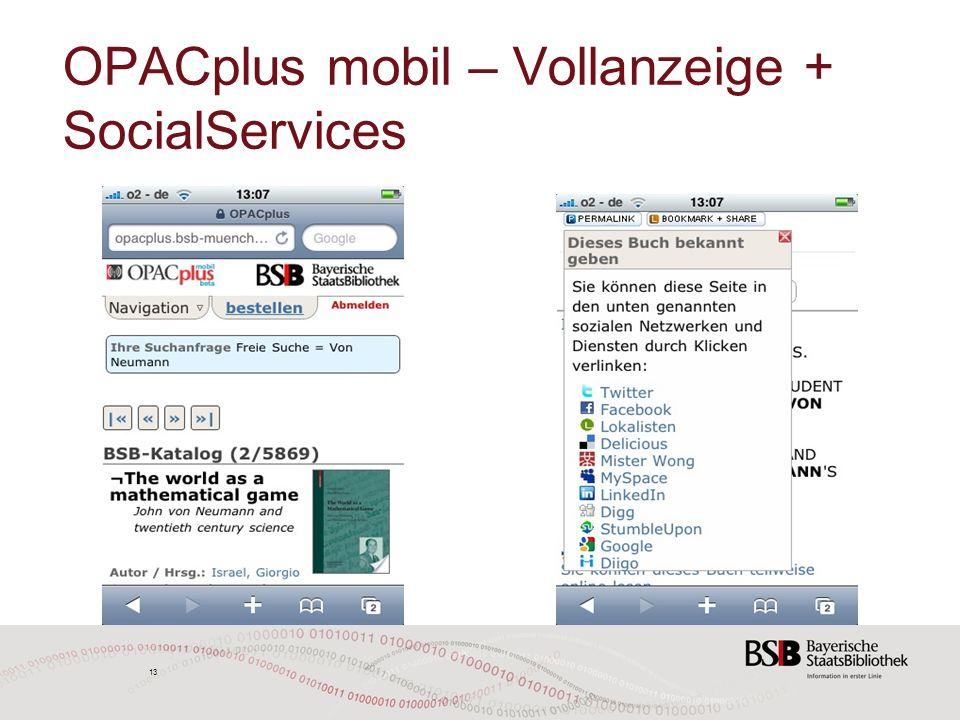 13 OPACplus mobil – Vollanzeige + SocialServices