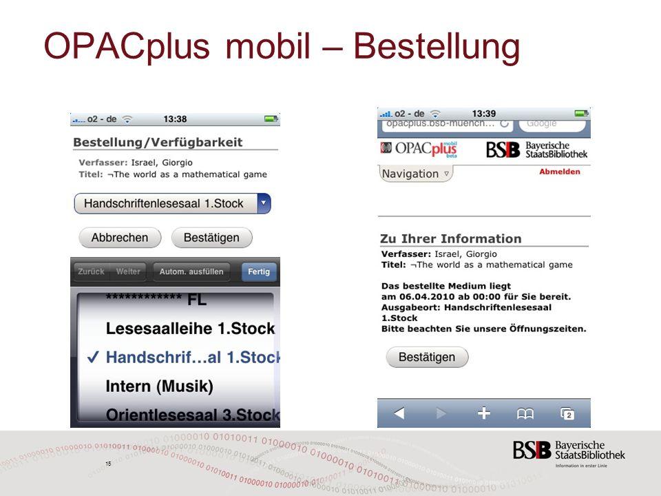 15 OPACplus mobil – Bestellung 15