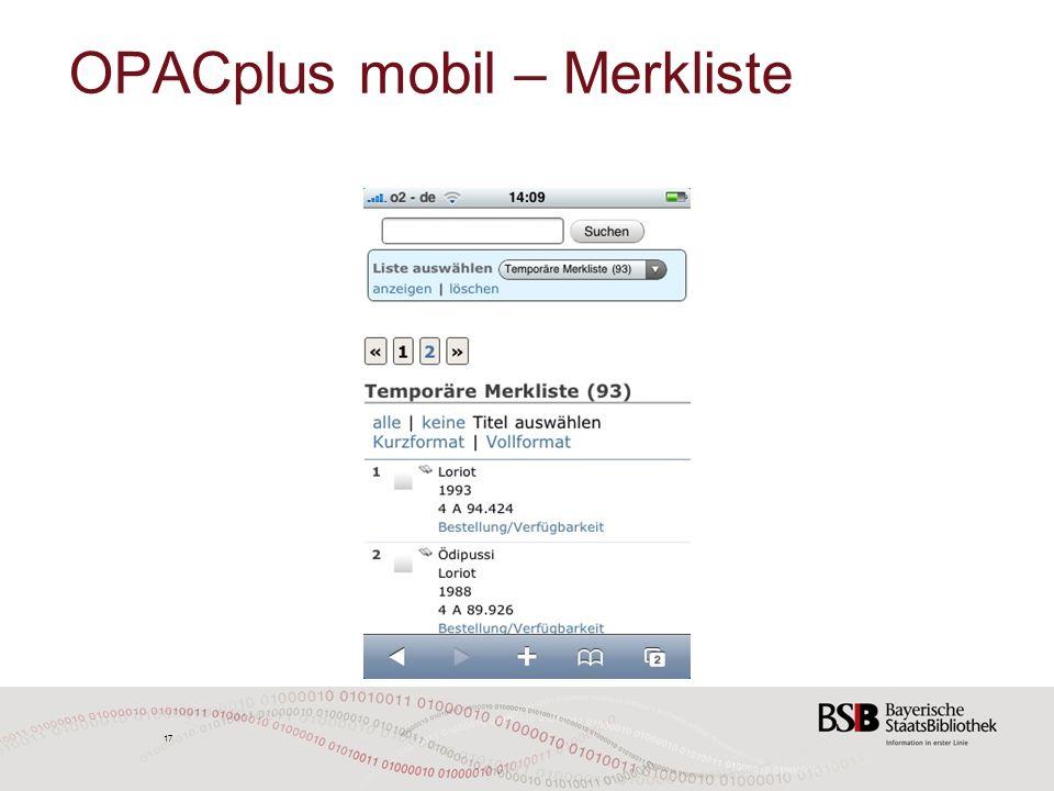 17 OPACplus mobil – Merkliste