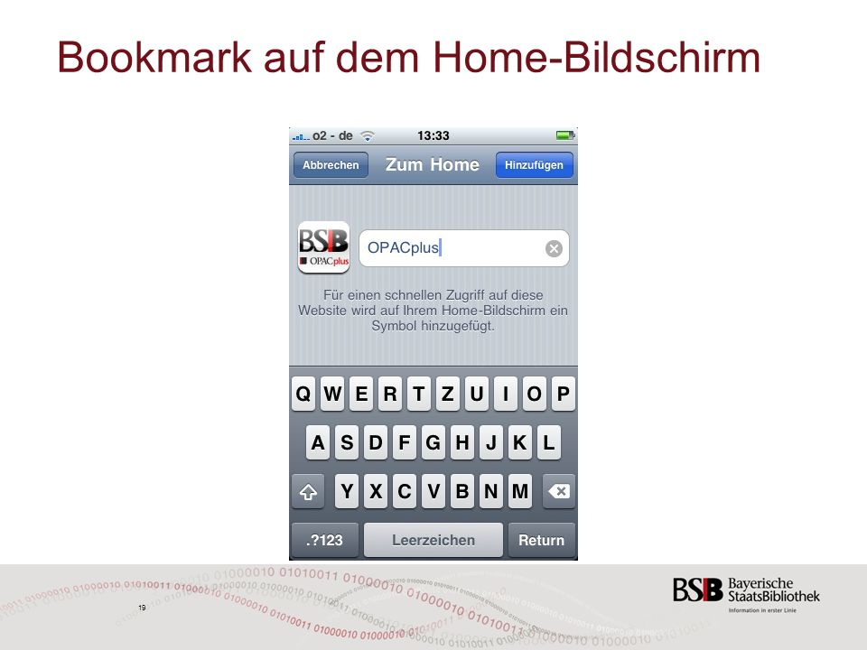 19 Bookmark auf dem Home-Bildschirm 19