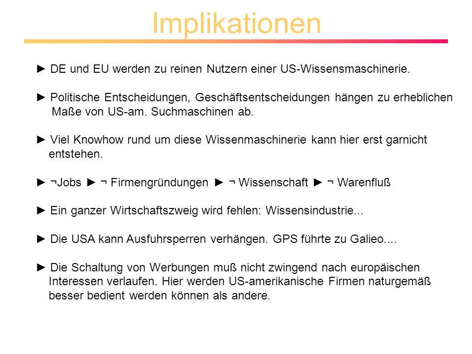 Implikationen DE und EU werden zu reinen Nutzern einer US-Wissensmaschinerie.