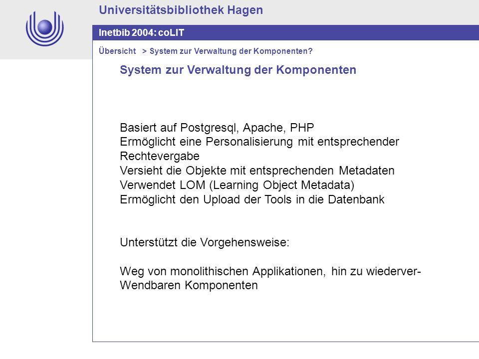 Universitätsbibliothek Hagen Inetbib 2004: coLIT System zur Verwaltung der Komponenten Basiert auf Postgresql, Apache, PHP Ermöglicht eine Personalisi