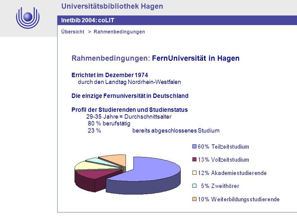 Universitätsbibliothek Hagen Inetbib 2004: coLIT Rahmenbedingungen: FernUniversität in Hagen Errichtet im Dezember 1974 durch den Landtag Nordrhein-We